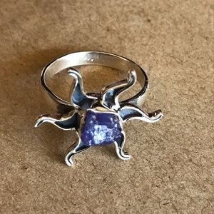 925 Silver Sun and Tanzanite Ring Size 7